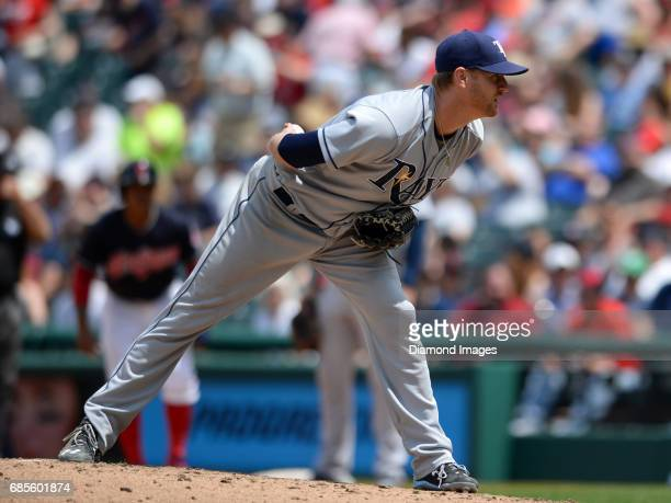 Pitcher Alex Cobb of the Tampa Bay Rays reads signs from home plate during a game on May 17 2017 against the Cleveland Indians at Progressive Field...