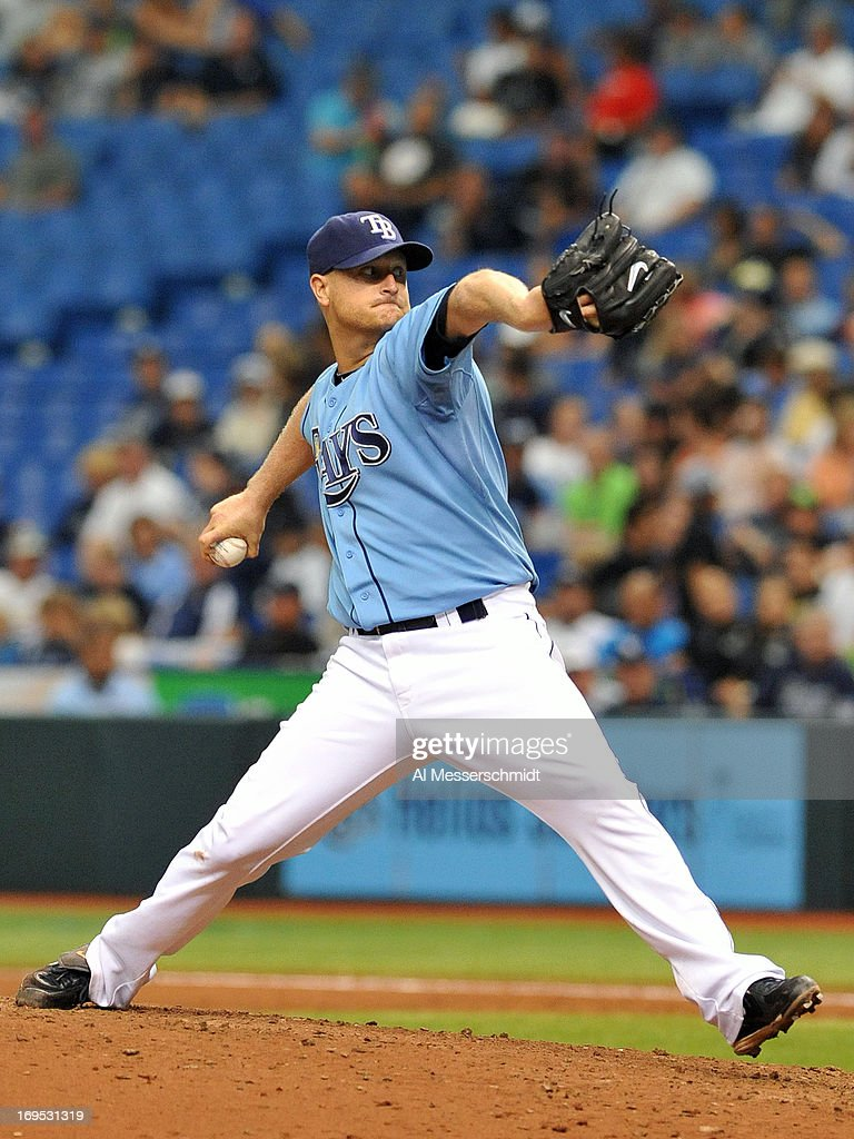 Pitcher <a gi-track='captionPersonalityLinkClicked' href=/galleries/search?phrase=Alex+Cobb&family=editorial&specificpeople=7512114 ng-click='$event.stopPropagation()'>Alex Cobb</a> #53 of the Tampa Bay Rays starts against the New York Yankees May 26, 2013 at Tropicana Field in St. Petersburg, Florida. The Rays won 8 - 3 and Cobb was the winning pitcher.