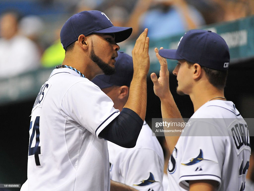 Pitcher Alex Torres #54 of the Tampa Bay Rays celebrates after throwing in relief in the 7th inning against the Baltimore Orioles September 23, 2013 at Tropicana Field in St. Petersburg, Florida.