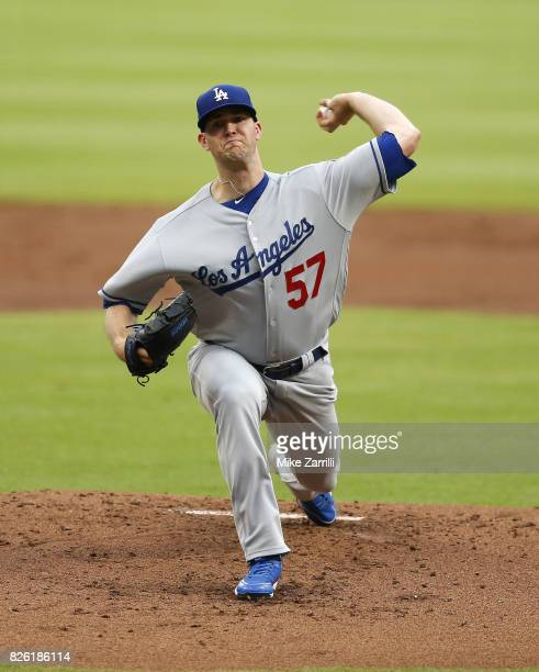 Pitcher Alex Wood of the Los Angeles Dodgers throws a pitch in the first inning during the game against the Atlanta Braves at SunTrust Park on August...