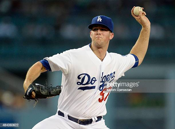 Pitcher Alex Wood of the Los Angeles Dodgers throws against the Cincinnati Reds during the second inning at Dodger Stadium August 14 2015 in Los...