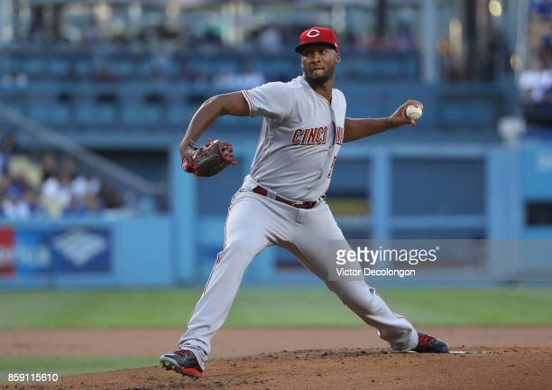 Pitcher Amir Garrett of the Cincinnati Reds pitches during the first inning of the MLB game against the Los Angeles Dodgers at Dodger Stadium on June...