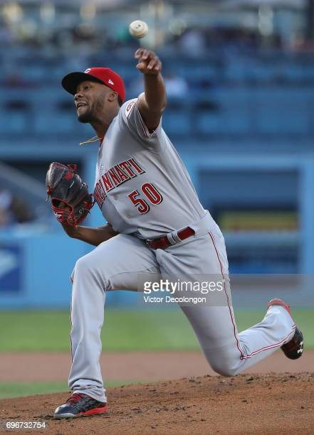Pitcher Amir Garrett of the Cincinnati Reds pitches in the first inning during the MLB game against the Los Angeles Dodgers at Dodger Stadium on June...