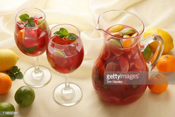 Pitcher and two glasses of Sangria with mint