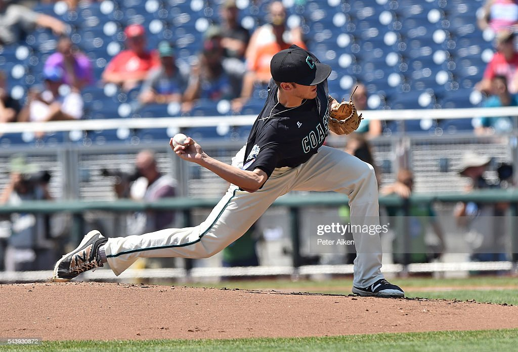 Pitcher Andrew Beckwith #41 of the Coastal Carolina Chanticleers delivers a pitch against the Arizona Wildcats in the first inning during game three of the College World Series Championship Series on June 30, 2016 at TD Ameritrade Park in Omaha, Nebraska.
