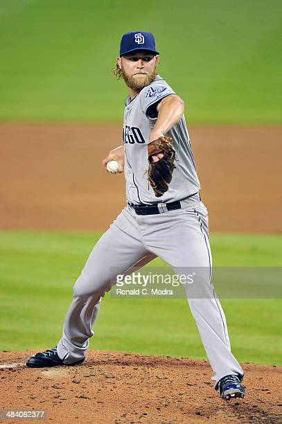 Pitcher Andrew Cashner of the San Diego Padres pitches during a MLB game against the Miami Marlins at Marlins Park on April 5 2014 in Miami Florida