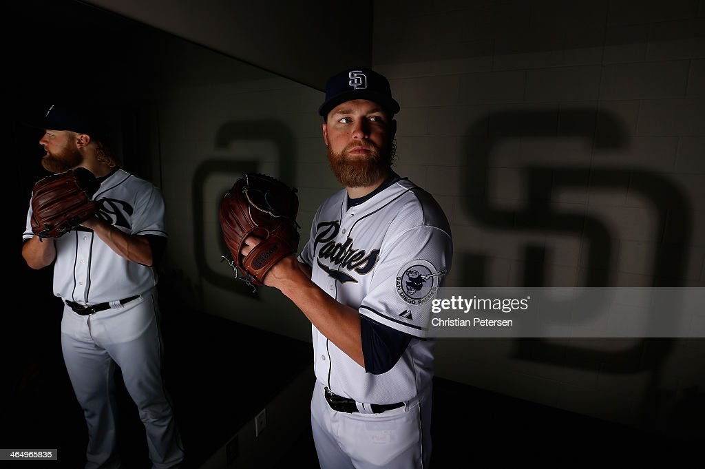 Pitcher Andrew Cashner #34 of the San Diego Padres poses for a portrait during spring training photo day at Peoria Stadium on March 2, 2015 in Peoria, Arizona.