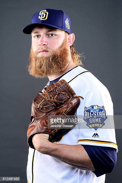 Pitcher Andrew Cashner of the San Diego Padres poses for a portrait during spring training photo day at Peoria Sports Complex on February 26 2016 in...