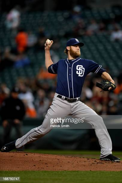 Pitcher Andrew Cashner of the San Diego Padres works the first inning against the Baltimore Orioles at Oriole Park at Camden Yards on May 14 2013 in...