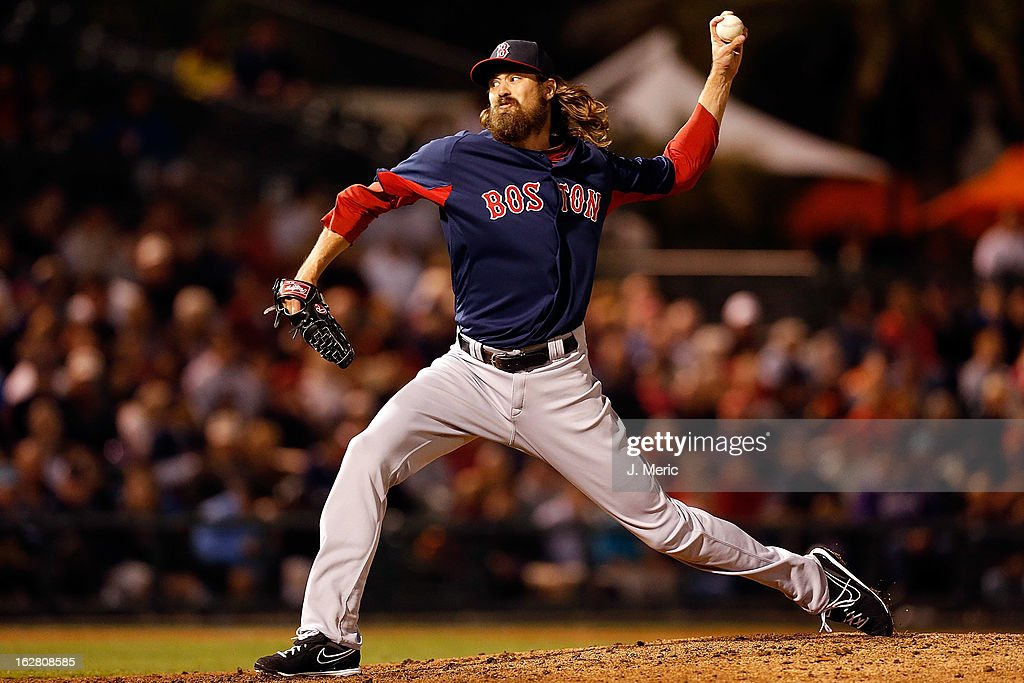 Pitcher <a gi-track='captionPersonalityLinkClicked' href=/galleries/search?phrase=Andrew+Miller+-+Jogador+de+beisebol&family=editorial&specificpeople=4496823 ng-click='$event.stopPropagation()'>Andrew Miller</a> #30 of the Boston Red Sox pitches against the Baltimore Orioles during a Grapefruit League Spring Training Game at Ed Smith Stadium on February 27, 2013 in Sarasota, Florida.