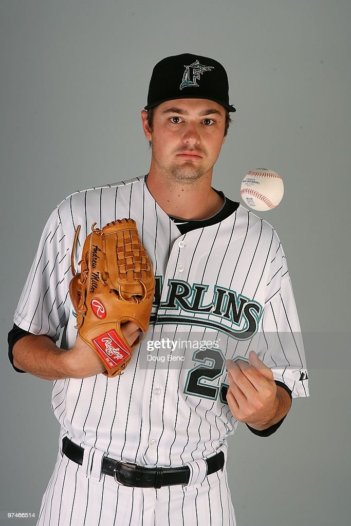 Pitcher <a gi-track='captionPersonalityLinkClicked' href=/galleries/search?phrase=Andrew+Miller+-+Baseball+Player&family=editorial&specificpeople=4496823 ng-click='$event.stopPropagation()'>Andrew Miller</a> #23 of the Florida Marlins poses during photo day at Roger Dean Stadium on March 2, 2010 in Jupiter, Florida.