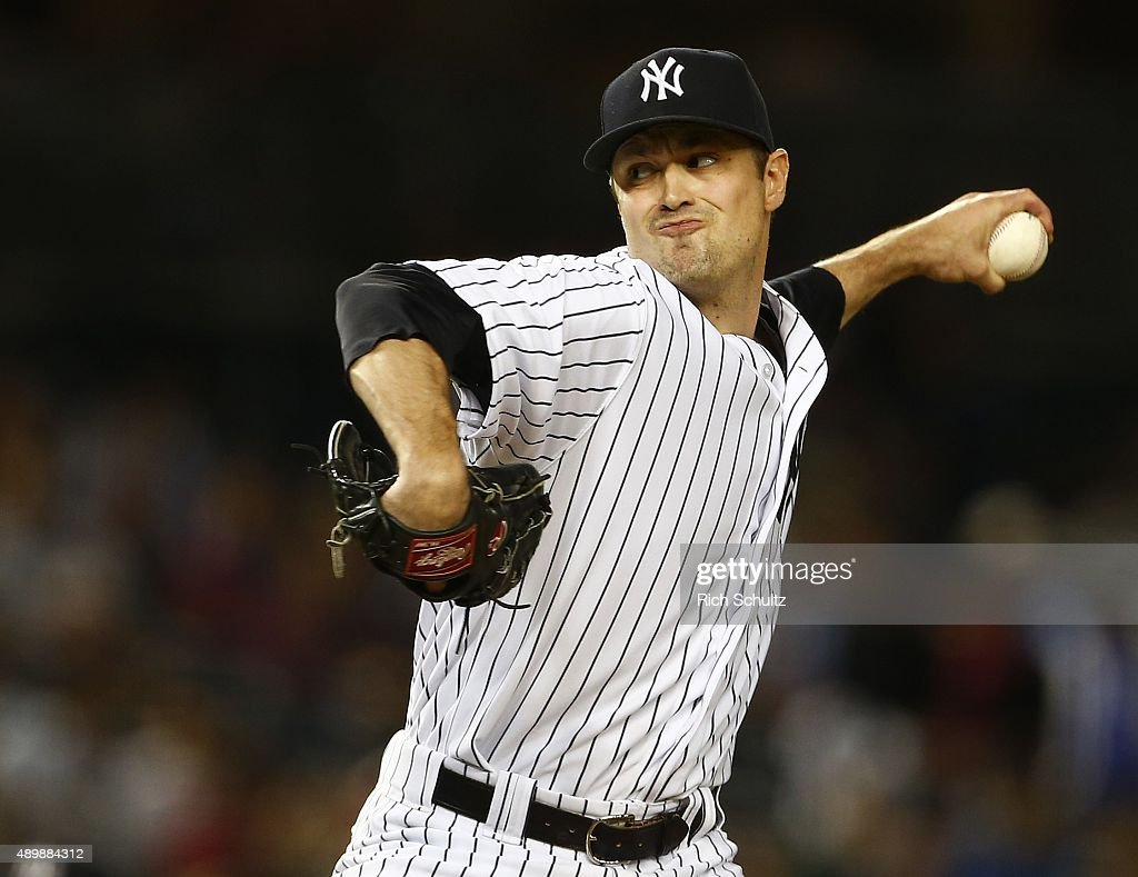 Pitcher <a gi-track='captionPersonalityLinkClicked' href=/galleries/search?phrase=Andrew+Miller+-+Baseball+Player&family=editorial&specificpeople=4496823 ng-click='$event.stopPropagation()'>Andrew Miller</a> #48 of the New York Yankees delivers a pitch against the Chicago White Sox during the ninth inning of a MLB baseball game at Yankee Stadium on September 24, 2015 in the Bronx borough of New York City. The Yankees defeated the White Sox 3-2.