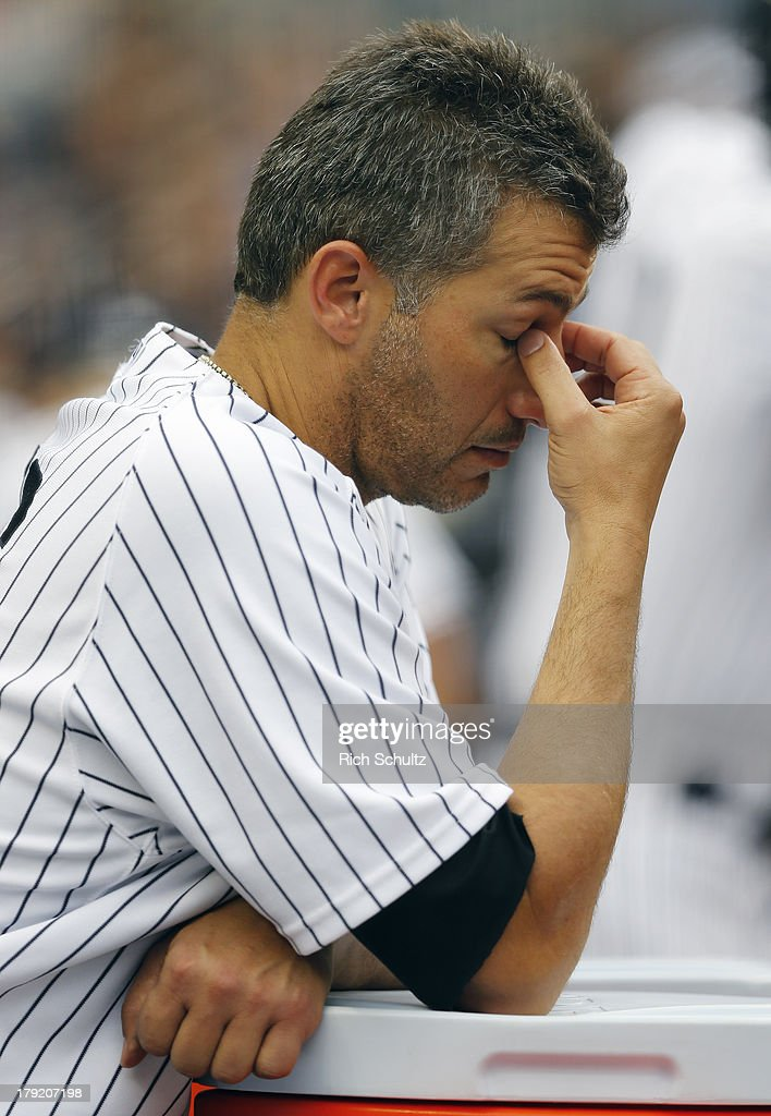 Pitcher Andy Pettitte #46 of the New York Yankees reacts in the dugout during the seventh inning as he watches his 3-1 lead disappear against the Baltimore Orioles in a MLB baseball game at Yankee Stadium on September 1, 2013 in the Bronx borough of New York City.