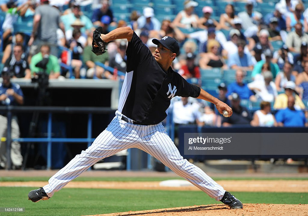 Pitcher <a gi-track='captionPersonalityLinkClicked' href=/galleries/search?phrase=Andy+Pettitte&family=editorial&specificpeople=201753 ng-click='$event.stopPropagation()'>Andy Pettitte</a> #46 of the New York Yankees throws against the New York Mets in a spring training game April 4, 2012 at George M. Steinbrenner Field in Tampa, Florida. Pettitte last pitched in 2010.