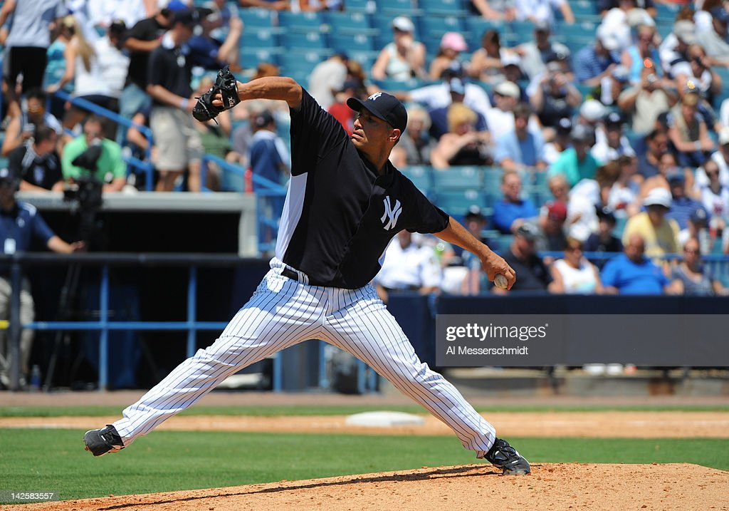 Pitcher Andy Pettitte #46 of the New York Yankees throws against the New York Mets in a spring training game April 4, 2012 at George M. Steinbrenner Field in Tampa, Florida. Pettitte last pitched in 2010.
