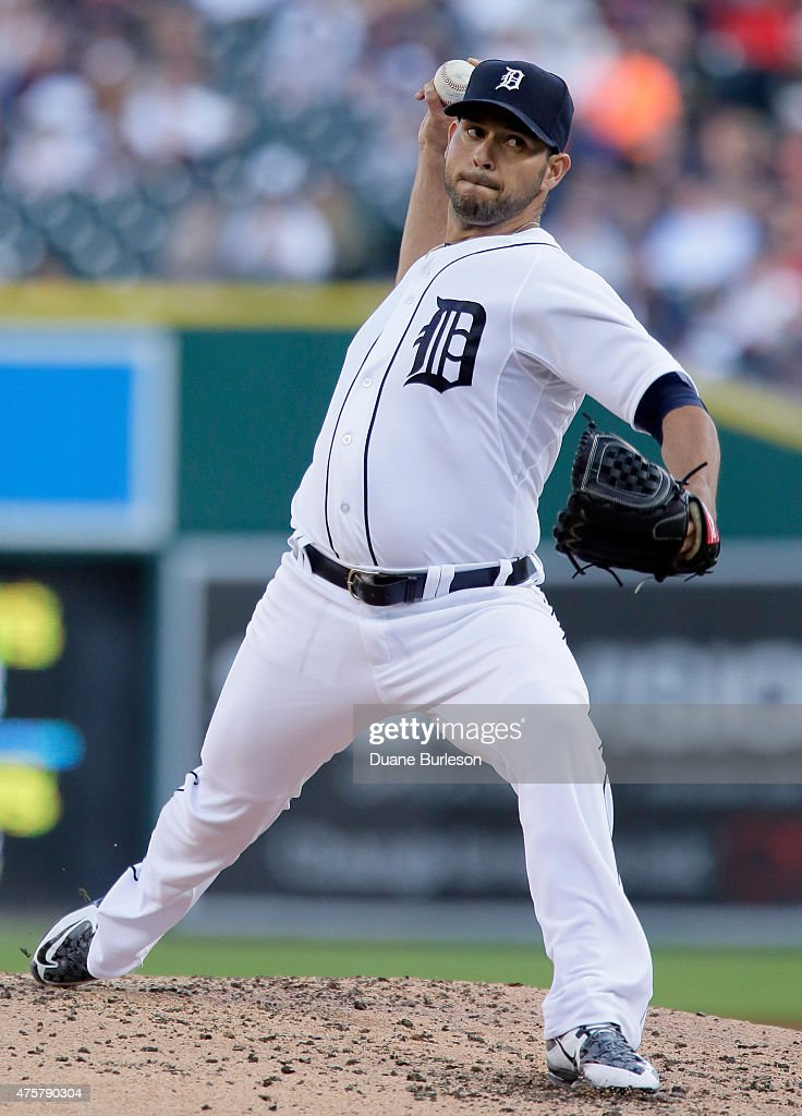 Pitcher Anibal Sanchez of the Detroit Tigers delivers against the Oakland Athletics during the third inning at Comerica Park on June 3 2015 in...
