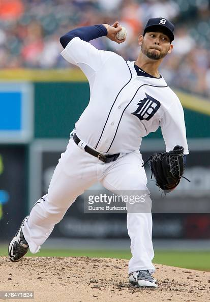 Pitcher Anibal Sanchez of the Detroit Tigers delivers against the Chicago Cubs during the second inning at Comerica Park on June 9 2015 in Detroit...