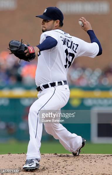 Pitcher Anibal Sanchez of the Detroit Tigers delivers against the Cincinnati Reds during the second inning at Comerica Park on June 15 2015 in...