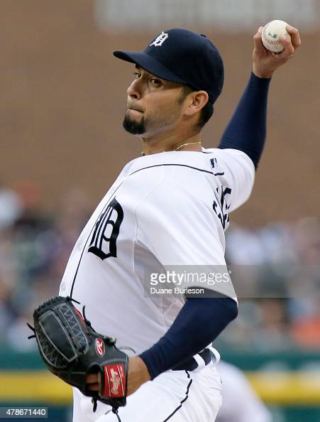 Pitcher Anibal Sanchez of the Detroit Tigers delivers against the Chicago White Sox during the first inning at Comerica Park on June 26 2015 in...