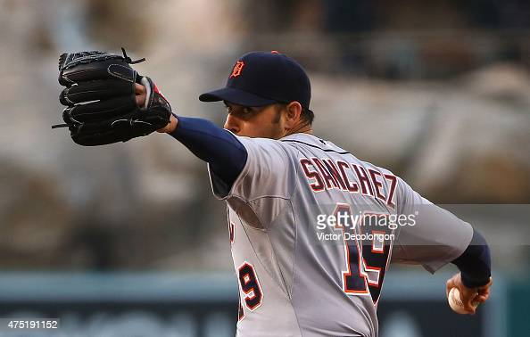 Pitcher Anibal Sanchez of the Detroit Tigers pitches in the first inning during the MLB game against the Los Angeles Angels of Anaheim at Angel...