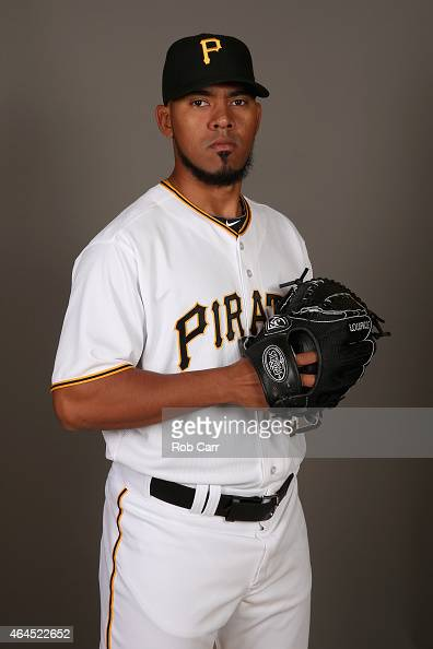 Pitcher Antonio Bastardo of the Pittsburgh Pirates poses for a portrait on photo day on February 26 2015 at Pirate City in Bradenton Florida