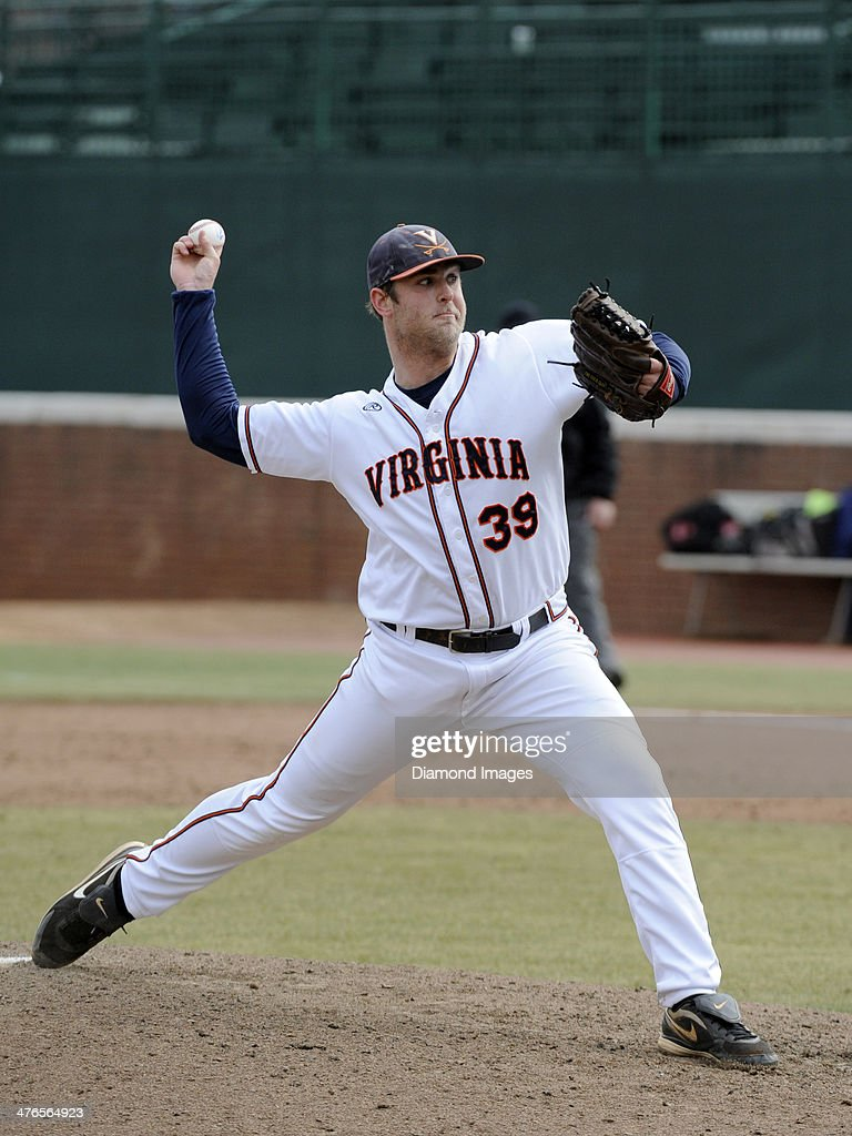 Pitcher Austin Young #39 of the University of Virginia Cavaliers throws a pitch during the top of the seventh inning of a game on March 1, 2014 against the Monmouth University Hawks at Davenport Field on the campus of the University of Virginia in Charlottesville, VA.