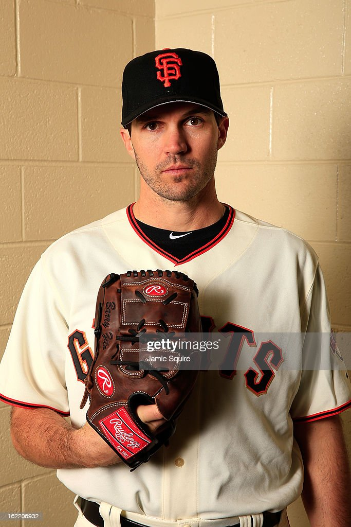 Pitcher <a gi-track='captionPersonalityLinkClicked' href=/galleries/search?phrase=Barry+Zito&family=editorial&specificpeople=202943 ng-click='$event.stopPropagation()'>Barry Zito</a> #75 poses for a portrait during San Francisco Giants Photo Day on February 20, 2013 in Scottsdale, Arizona.
