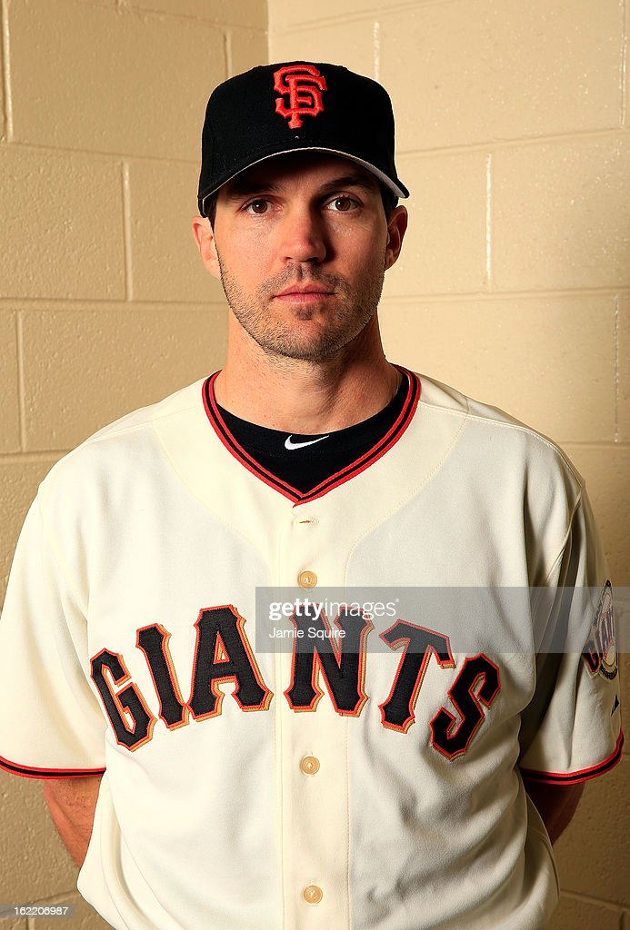 Pitcher Barry Zito #75 poses for a portrait during San Francisco Giants Photo Day on February 20, 2013 in Scottsdale, Arizona.