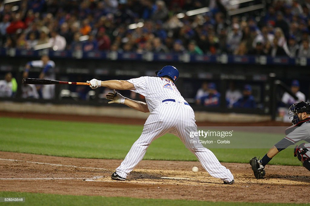Pitcher <a gi-track='captionPersonalityLinkClicked' href=/galleries/search?phrase=Bartolo+Colon&family=editorial&specificpeople=175812 ng-click='$event.stopPropagation()'>Bartolo Colon</a> #40 of the New York Mets loses his helmet while striking out batting during the Atlanta Braves Vs New York Mets MLB regular season game at Citi Field on May 02, 2016 in New York City.