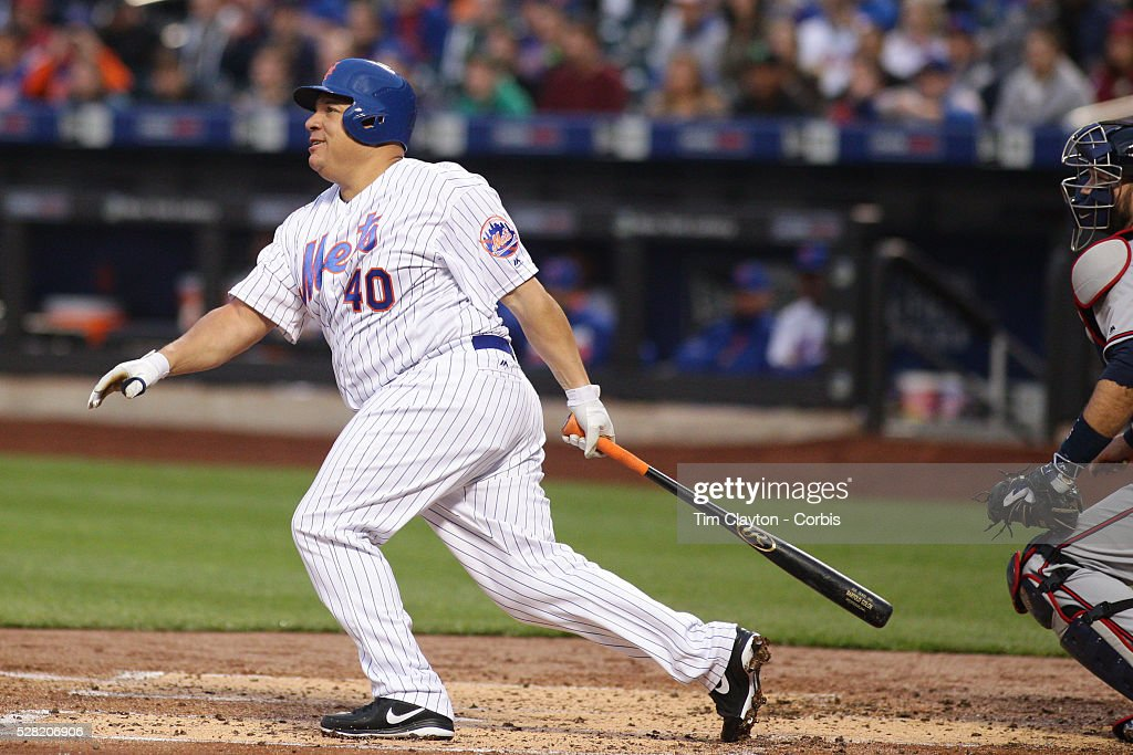Pitcher Bartolo Colon #40 of the New York Mets watches as contact on the ball goes just foul during the Atlanta Braves Vs New York Mets MLB regular season game at Citi Field on May 02, 2016 in New York City.