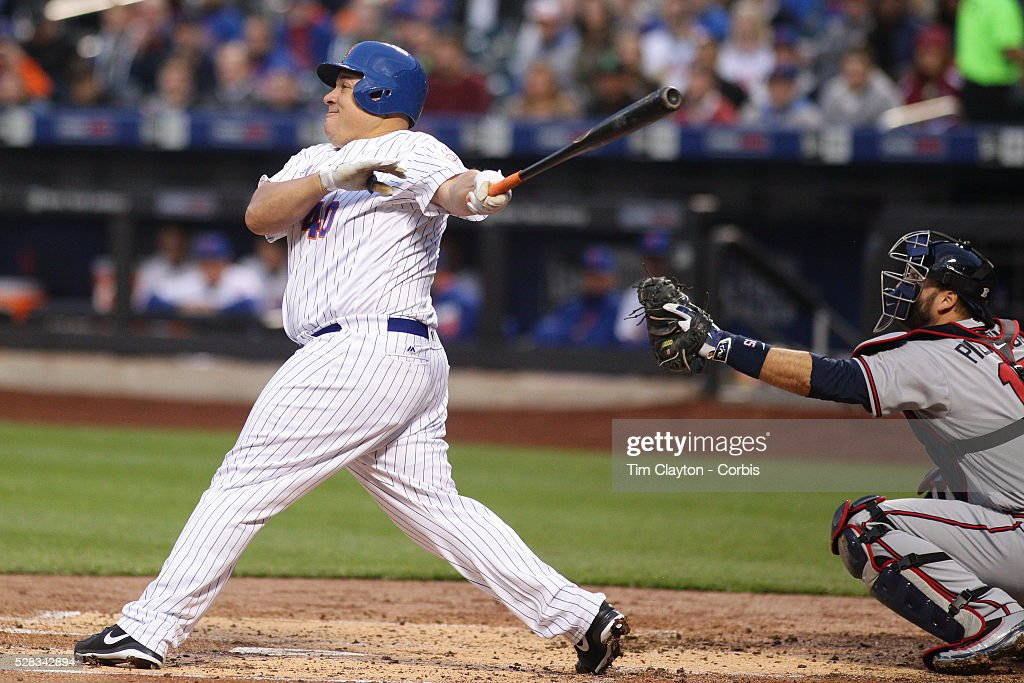 Pitcher <a gi-track='captionPersonalityLinkClicked' href=/galleries/search?phrase=Bartolo+Colon&family=editorial&specificpeople=175812 ng-click='$event.stopPropagation()'>Bartolo Colon</a> #40 of the New York Mets watches as contact on the ball flies just foul during the Atlanta Braves Vs New York Mets MLB regular season game at Citi Field on May 02, 2016 in New York City.