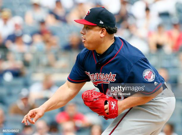 Pitcher Bartolo Colon pitches in an MLB baseball game against the New York Yankees on September 20 2017 at Yankee Stadium in the Bronx borough of New...