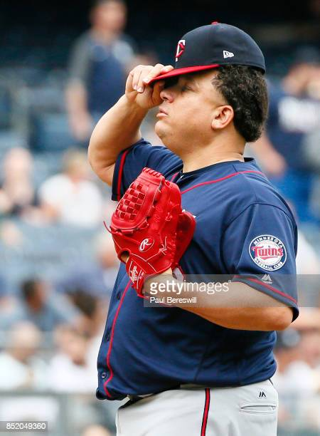 Pitcher Bartolo Colon reacts in an MLB baseball game against the New York Yankees on September 20 2017 at Yankee Stadium in the Bronx borough of New...