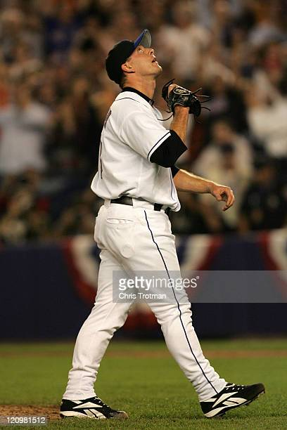 Pitcher Billy Wagner of the New York Mets following his save against the Los Angeles Dodgers during game one of the 2006 National League Divisional...