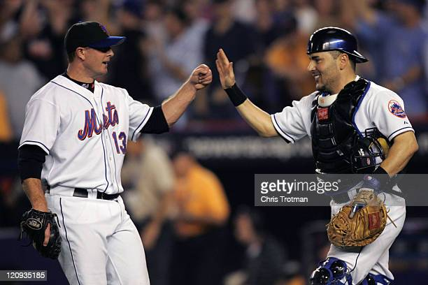Pitcher Billy Wagner of the New York Mets is congratulated by catcher Paul Lo Duca on his save against the Los Angeles Dodgers during game one of the...