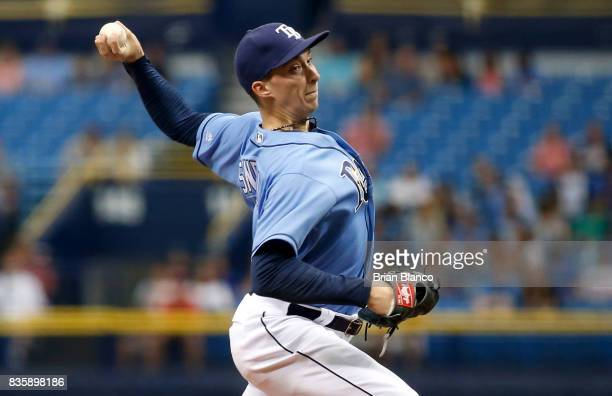 Pitcher Blake Snell of the Tampa Bay Rays pitches during the first inning of a game against the Seattle Mariners on August 20 2017 at Tropicana Field...