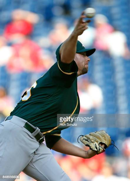Pitcher Blake Treinen of the Oakland Athletics delivers a pitch against the Philadelphia Phillies during the ninth inning of a game at Citizens Bank...