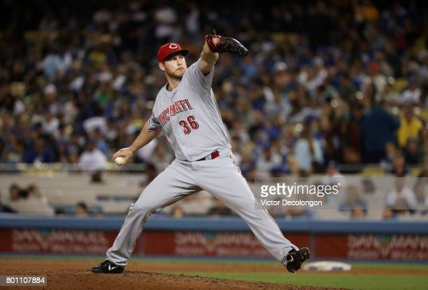 Pitcher Blake Wood of the Cincinnati Reds pitches in the fifth inning during the MLB game against the Los Angeles Dodgers at Dodger Stadium on June 9...