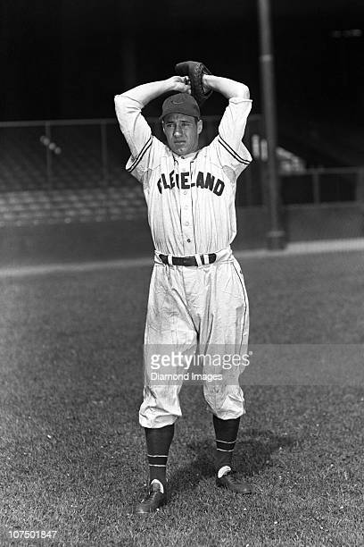 Pitcher Bob Feller of the Cleveland Indians poses for a portrait prior to a game in 1945