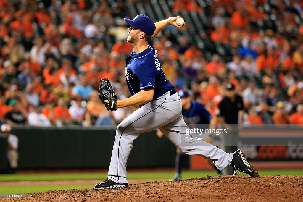 Pitcher Brad Boxberger #26 of the Tampa Bay Rays throws to a Baltimore Orioles batter during the eighth inning at Oriole Park at Camden Yards on August 27, 2014 in Baltimore, Maryland.