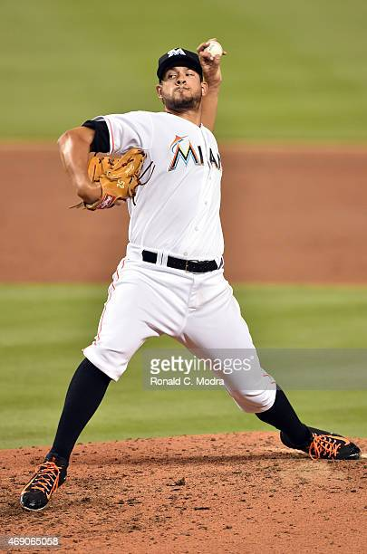 Pitcher Brad Hand of the Miami Marlins pitches during a MLB game against the Atlanta Braves at Marlins Park on April 7 2015 in Miami Florida