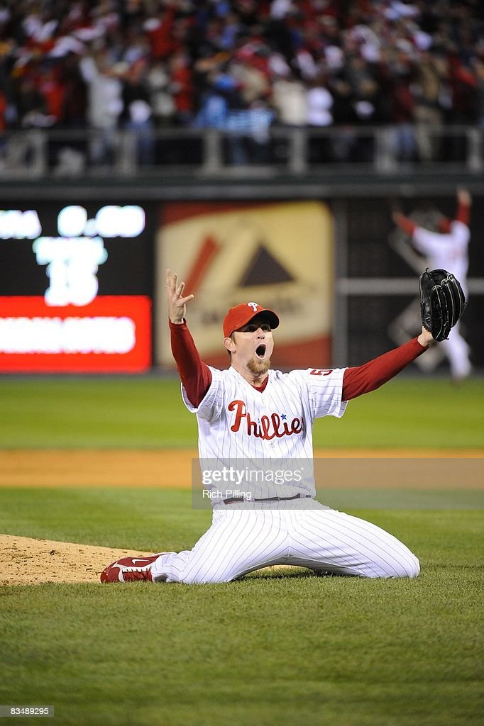 Pitcher Brad Lidge of the Philadelphia Phillies celebrates after winning game five of the World Series between the Tampa Bay Rays and the...