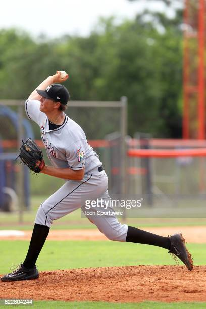Pitcher Brady Puckett of the Marlins delivers a pitch to the plate during the Gulf Coast League game between the Marlins and the Mets on July 21 at...