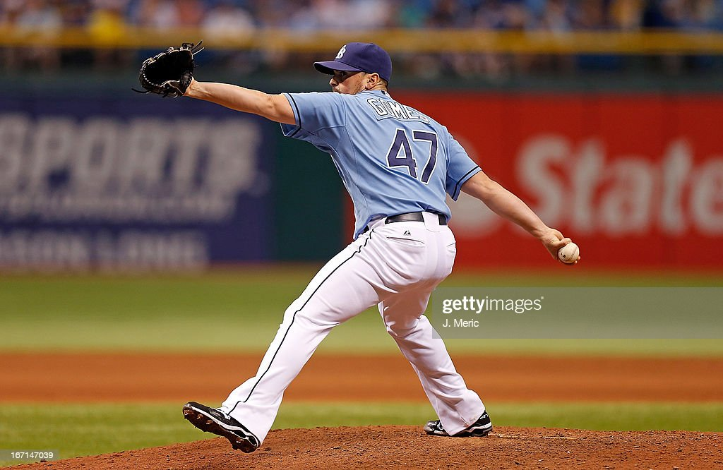 Pitcher <a gi-track='captionPersonalityLinkClicked' href=/galleries/search?phrase=Brandon+Gomes&family=editorial&specificpeople=7511977 ng-click='$event.stopPropagation()'>Brandon Gomes</a> #47 of the Tampa Bay Rays pitches against the Oakland Athletics during the game at Tropicana Field on April 21, 2013 in St. Petersburg, Florida.