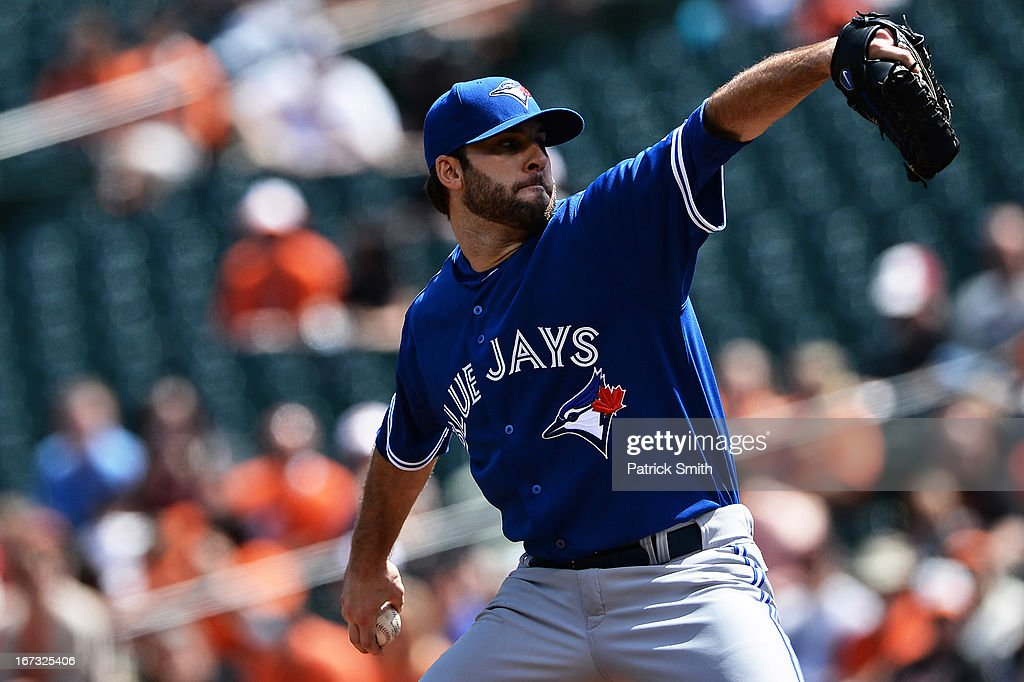 Pitcher Brandon Morrow #23 of the Toronto Blue Jays works the first inning against the Baltimore Orioles at Oriole Park at Camden Yards on April 24, 2013 in Baltimore, Maryland.