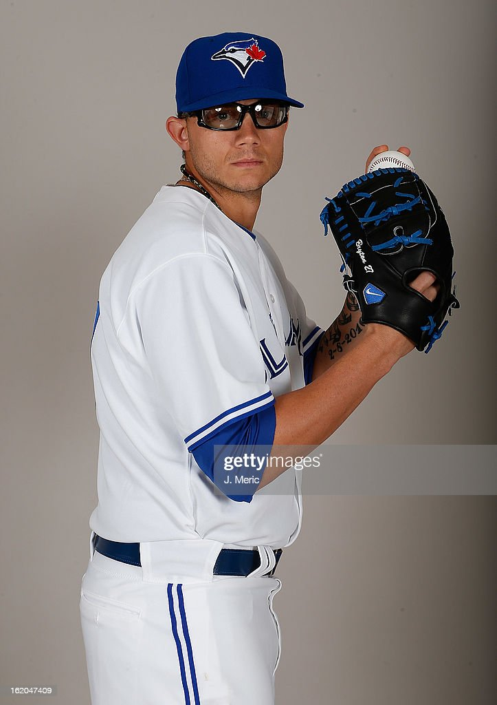 Pitcher Brett Cecil #27 of the Toronto Blue Jays poses for a photo during photo day at Florida Auto Exchange Stadium on February 18, 2013 in Dunedin, Florida.