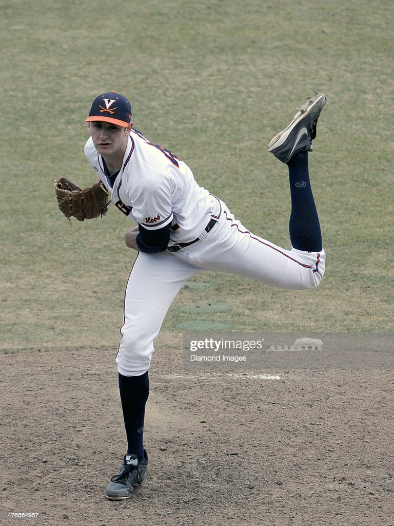 Pitcher Brett Lisle #42 of the University of Virginia Cavaliers throws a pitch during the top of the ninth inning of a game on March 1, 2014 against the Monmouth University Hawks at Davenport Field on the campus of the University of Virginia in Charlottesville, VA.