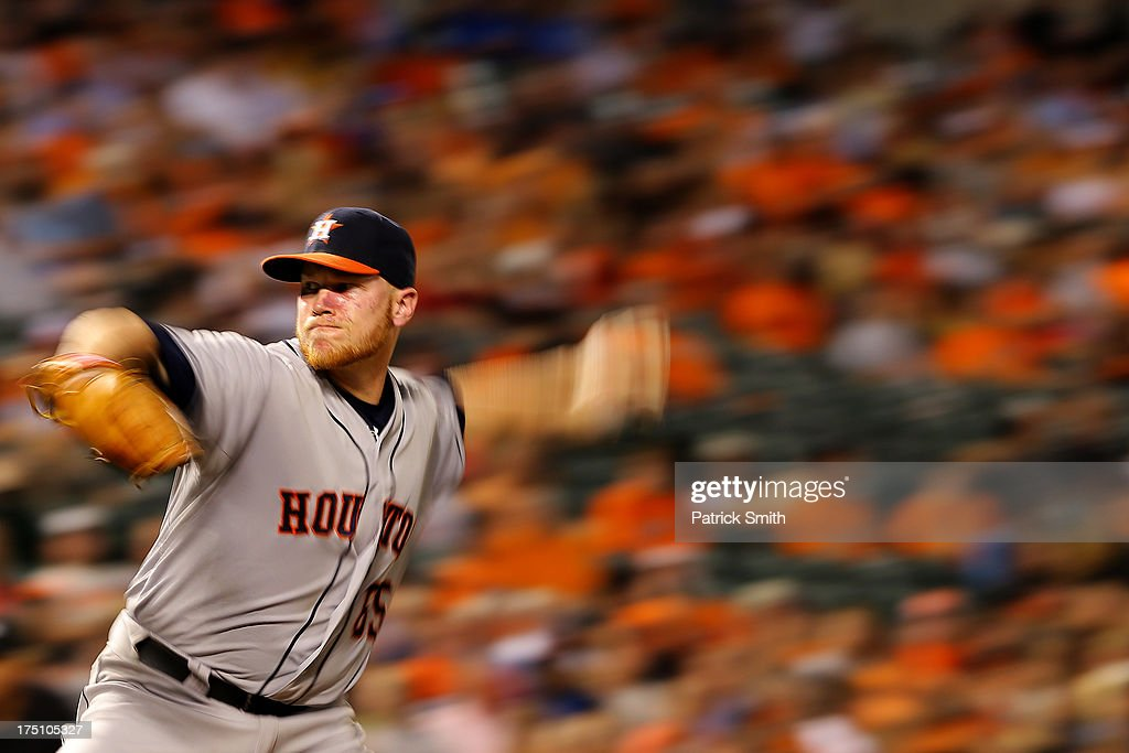 Pitcher Brett Oberholtzer #65 of the Houston Astros works the sixth inning against the Baltimore Orioles at Oriole Park at Camden Yards on July 31, 2013 in Baltimore, Maryland. The Houston Astros won, 11-0.