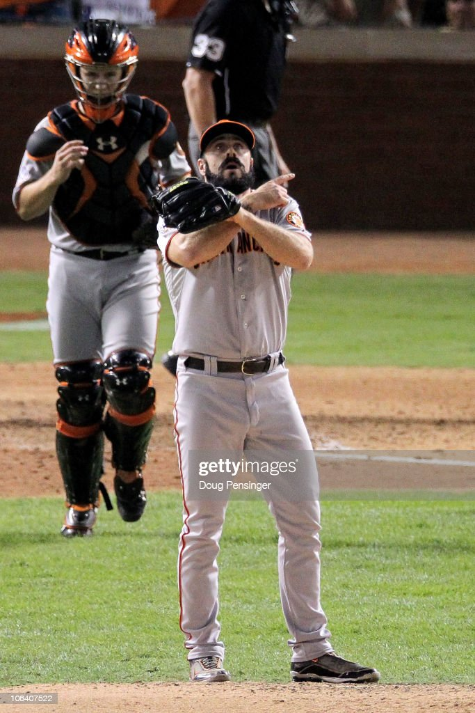 Pitcher Brian Wilson #38 of the San Francisco Giants celebrates their 4-0 victory over the Texas Rangers in the bottom of the ninth inning of Game Four of the 2010 MLB World Series at Rangers Ballpark in Arlington on October 31, 2010 in Arlington, Texas.