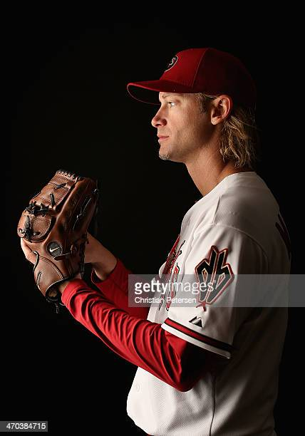 Pitcher Bronson Arroyo of the Arizona Diamondbacks poses for a portrait during spring training photo day at Salt River Fields at Talking Stick on...
